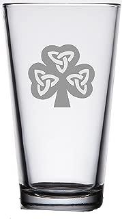 IIE Laserware rish Shamrock Pub Pint Beer Glass 16oz - Heavy Bottom - Unique Gift- Housewarming, Wedding - Birthday or add to your own bar collection