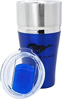 Ford Mustang Tumbler 20 oz Copper Vacuum Insulated with Lid [Travel Mug] Double Wall Water Coffee Cup for Home, Office, Outdoor Works Great for Ice Drinks and Hot Beverage - Blue