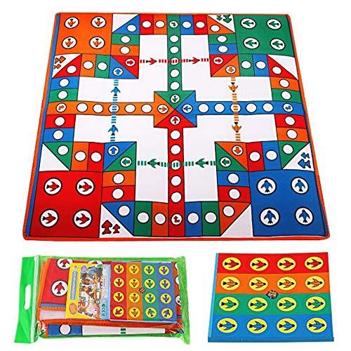 Fliege Schach Teppich, Familie Eltern-Kind-Spiel-Party-Spiel Playmat mit Schachfiguren, Monopoly Spielbrett, Brettspiel for Kinder im Alter von 8 & mehr 82 x 82cm