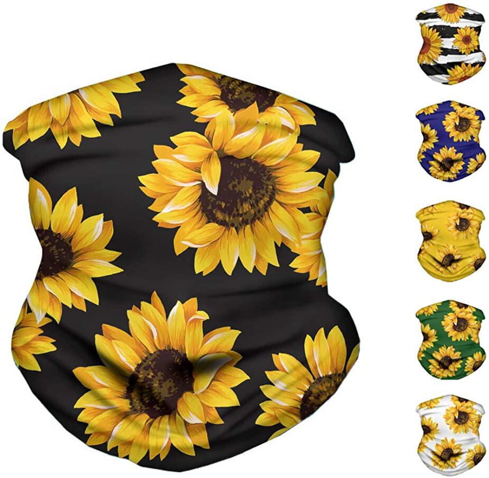 Cooling Neck Gaiter for Women Sunflower face covering for Summer Protection Bandana Headband for Dust Sun Wind, Magic Fashion face scarf 2PCS