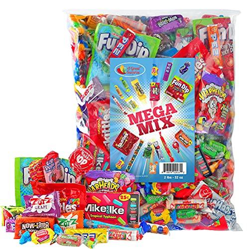 Assorted Candy Party Mix, 2 LB Bulk Bag - Holiday Candy Bulk - Fun Size Skittles, Top Box Pop Taffy...