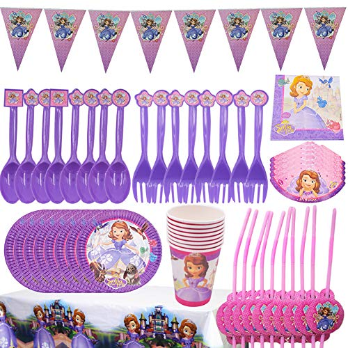 BESLIME Sofia the Party Accessories, Game Party Accessories Set, Including Banners, Plates, Cups, Blowing Dragons, Hats, Tablecloths, Forks and Knives Children Video Game Party Supplies-60 PCS