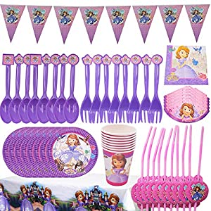 BESLIME Disney Sofia the Party Accessories, Game Party Accessories Set, Including Banners, Plates, Cups, Blowing Dragons, Hats, Tablecloths, Forks and Knives Children Video Game Party Supplies-66 PCS