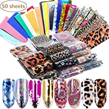 Valuu 50 Sheets Nail Art Foil Transfer Stickers Laser Flower Leopard Print Nail Foil Adhesive Decals Starry Sky Manicure Transfer Tips Nail Art DIY Decoration Kit