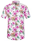 SIR7 Men's Hawaiian Flower Ptint Casual Button Down Short Sleeve Shirt Pink XL