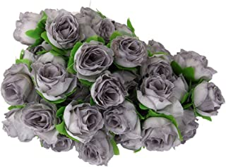 ROSENICE 50pcs Rose Flower Head Wedding Party Decoration Artificial Flower (Grey)