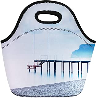 Semtomn Lunch Bags Antalya Turkish Dusk View Across Kemer Beach Southern Coast Neoprene Lunch Bag Lunchbox Tote Bag Portable Picnic Bag Cooler Bag