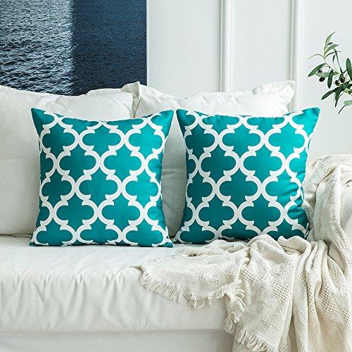 MIULEE 2er Pack Leinenoptik Home Dekorative Kissenbezug Geometrisches Kissen Kissenhülle für Sofa Schlafzimmer Auto mit Reißverschlüsse Grün 18 x 18 inch 45 x 45 cm