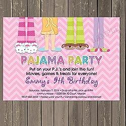 pajama party sleepover birthday party invitation in pink chevron pj party invitation slumber party invitation - Sleepover Birthday Party Invitations