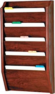 Wooden Mallet 5-Pocket File Holder, Legal Size, Mahogany