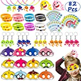 TICIAGA Cute Shark Party Favors, 82pcs Little Shark Theme Party Supplies for Birthday Goodies Bag Fillers, Pinata Fillers, Doo Doo Party Gift Toys, Shark Mask, Stickers, Bracelet for Boys Girls