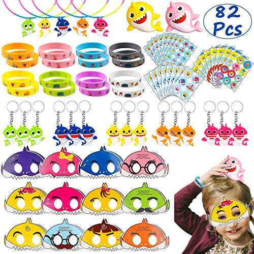 TICIAGA Cute Shark Party Favors 82pcs Little Shark Theme Party Supplies for Birthday Goodies Bag Fillers Pinata Fillers Doo Doo Party Gift Toys Shark Mask Stickers Bracelet for Boys Girls