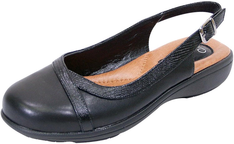 Peerage FIC June Women Extra Wide Width Leather Slingback Clog Black 8