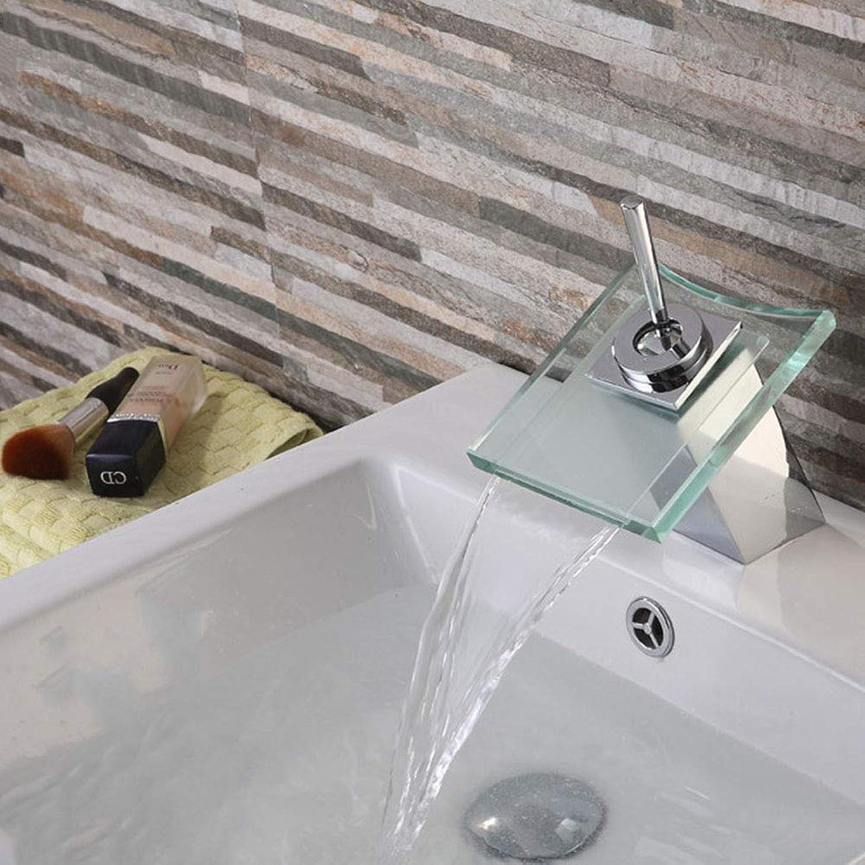 LM-Faucet Mischbatterie Wasserhahn,360 Grad quadratisches Glas Beckenwasserfallhahn Mischer für heies und kaltes Wasser Bleifreie Gesundheit,Clear