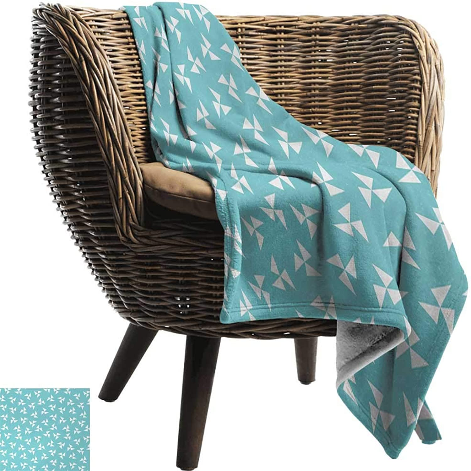 AndyTours Weighted Blanket for Kids,Aqua,Hipster Geometrical Pattern with Pinwheel Triangles and Slightly Grunge Look,Turquoise White,Weighted Blanket for Adults Kids, Better Deeper Sleep 50 x70