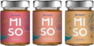 Fairment Miso Probierpaket - 3 Sorten unpasteurisierte Misopaste im Glas je 200g Genmai, Shiro Koshi und sojafreies Miso