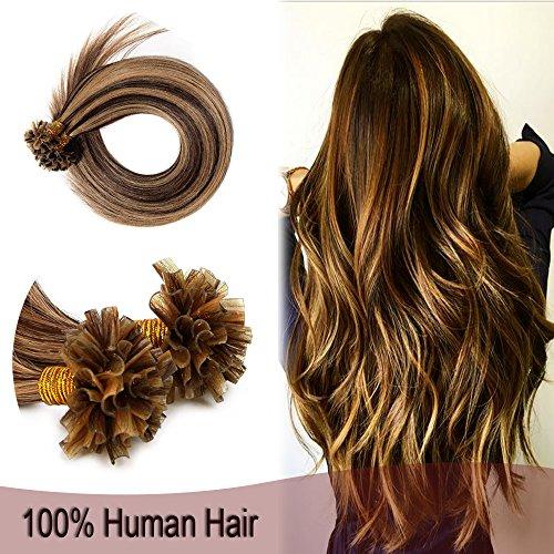 "Pre Bonded U Tip Cold Fusion Hair Extension Human Hair Flat Tip Keratin Stick Straight Nail Tipped Pre-bonded Hair Extensions For Women 100 Strands 50g 18"" #4P27 Medium Brown Mix Dark Blonde"