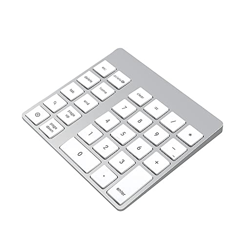 Cateck 28-Key Rechargeable Aluminum Bluetooth Wireless Keypad Number Pad Keyboard for iMac, MacBook