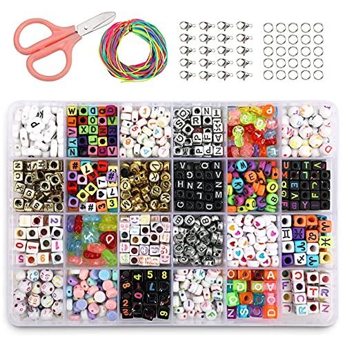 PHOGARY Conjunto de Perlas de Alfabeto (800 Piezas), Pulseras de Bricolaje Collares Cuentas de Letras A-Z en Formas de Redondo, corazón, Cuadrado para la fabricación de Joyas
