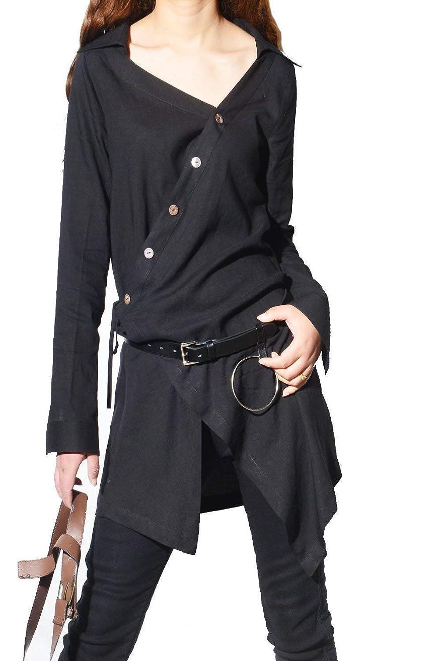 Women's Cotton Linen Shirt Dress+ Leather Waist Belt Black