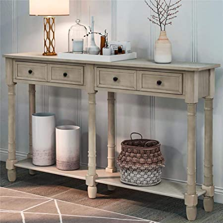 Rustic Solid Wood Sofa Table Console Table With 2 Drawers And Shelf 58 X11x34 Inches Entryway Table With Storage Metal Legs Coffee Table Antique Country Style Living Room Hallway White Furniture Decor