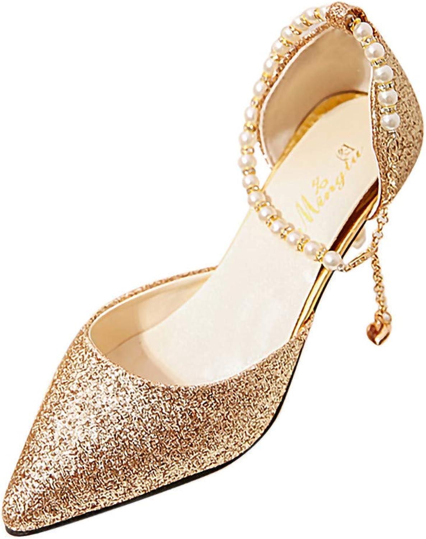Caopixx Heeled Wedding shoes, Women Bead Pearls Beach Bride Wedding Dress Sandals for Party Highten Increasing Joker Skinny Comfortable Soft High-Heeled Leg Length Elegant gold US 5.5 shoes