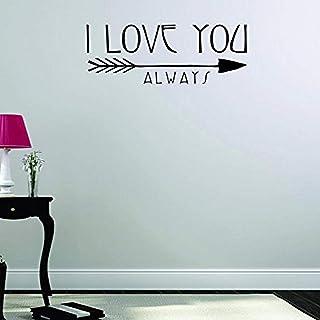 """بتصميم من الفينيل moti 15991مطبوع عليه I Love You دائم ً ا جدارية لاصقة ملصق مائي ، مقاس 8. 5"""" x 20"""" ، باللون الأسود"""