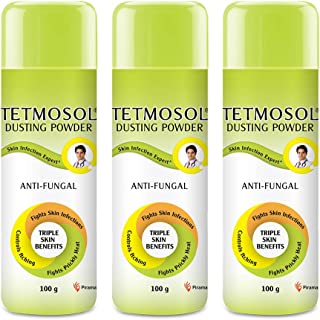Tetmosol Anti-fungal Dusting Powder - for daily use - fights skin infections, prickly heat, itching - Pack of 3 (3x100gms)