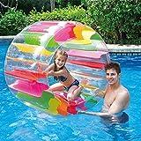 Dovlen Niños Adultos Colorido Hinchable Agua Rueda Roller, Rainbow Piscina Agua, Rueda Movible Entrenamiento Hélices para Exterior Play o Agua Grassland (36inch)