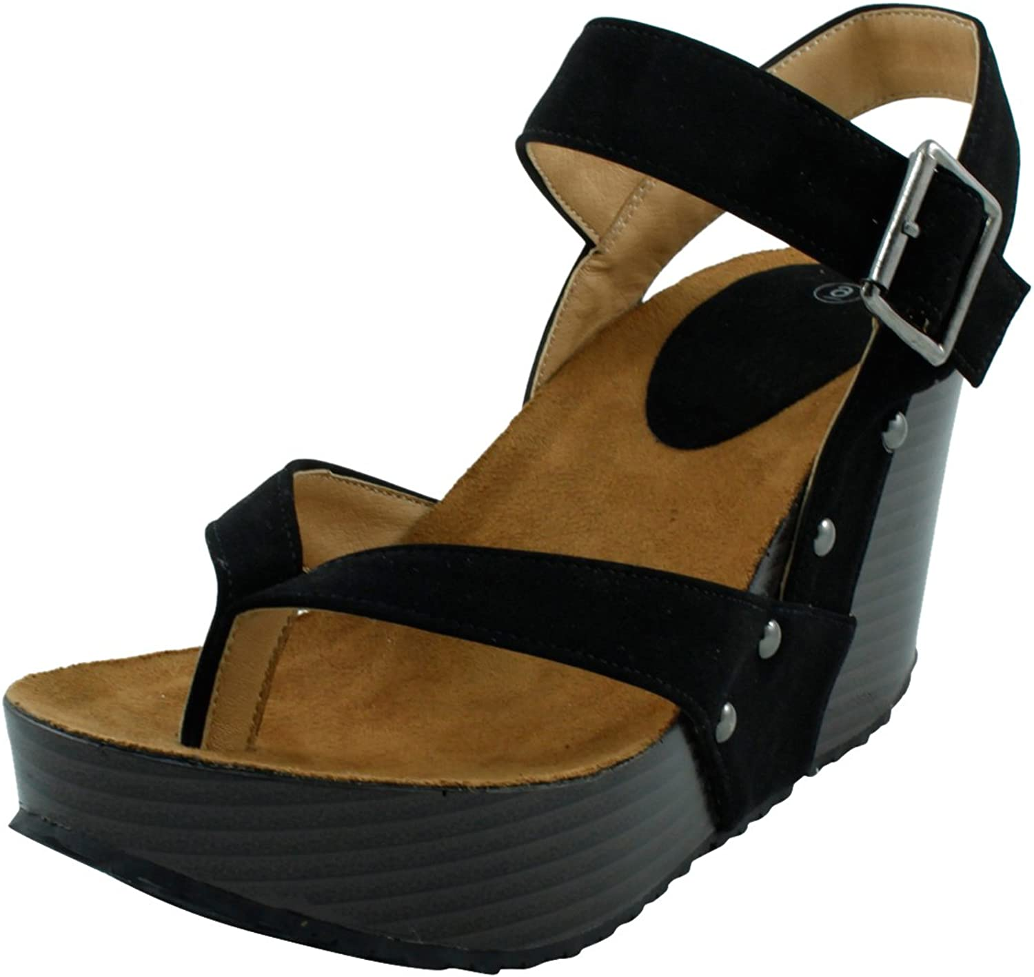 Cambridge Select Women's Studded Ankle Strappy Buckle Thong Platform Wedge Sandal