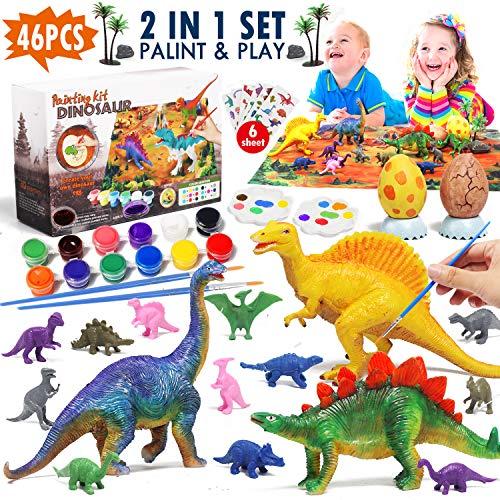 Lehoo Castle Dinosaurier Figuren Malset, Dinosaurier Malset für Kinder mit Spielmatte, Bastelset Kinder mit Dinosaurier Aufkleber und Deko-Eier