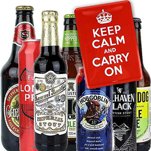 7er Bierset - KEP CALM AND CARRY ON - mit Blechpostkarte und Tastingtipps mit Bewertungshilfe - von.BierPost.com