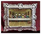 Cuadro barroco con marco Repro, aspecto antiguo de Jesús Cristo con los doce apóstos, la última cena de Jesús Ultima Cena (45 x 38 cm), color plateado