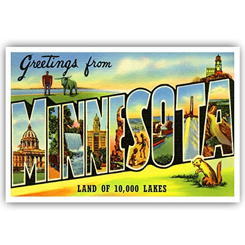 GREETINGS FROM MINNESOTA vintage reprint postcard set of 20 identical postcards. Large letter US state name post card pack (ca. 1930's-1940's). Made in USA.