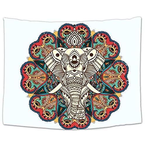 PPOU Elefant Tapisserie Wandbehang Tier Wandteppich Twin Hippie Tapisserie Bohemian Hippie Home Decor Tagesdecke Blatt A15 180x200cm