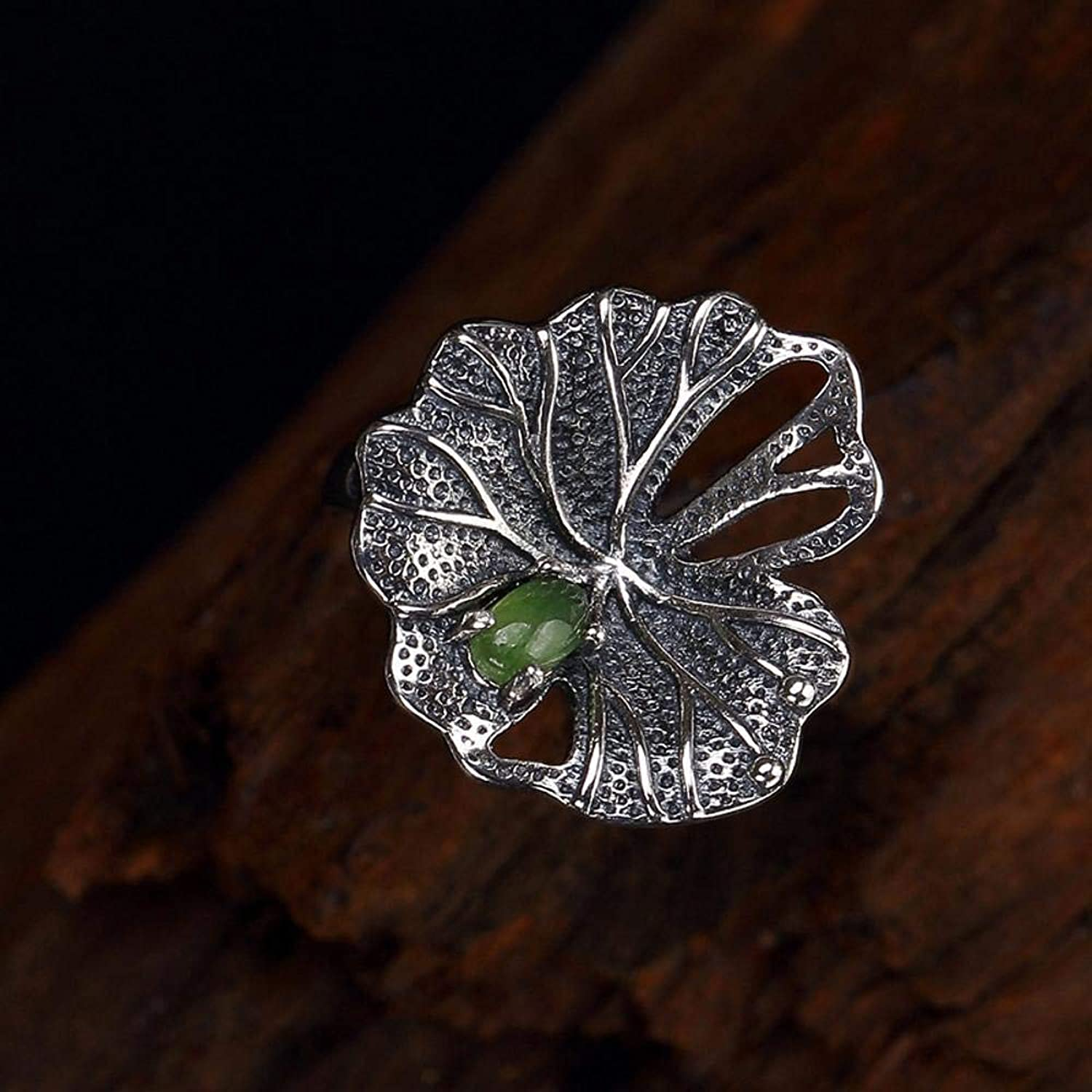 DTZH Rings Jewellery Ring S925 Pure Silver Inlaid Natural Jasper Fashion Female Lotus Leaf Ring Gift to Dear People