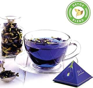 Blue Tea Indian Chai Masala Caffeine Free Herbal Tea for Detox Butterfly Pea Flower, Cinnamon, Cardamom, Clove, Ginger (12 Handcrafted Pyramid Teas, 24 cups)