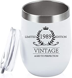 1989 30th Birthday Gifts for Women and Men Wine Tumbler 30 Year Old or Anniversary Gift Ideas for Mom Dad Husband Wife, 12 Oz Stainless Steel Wine Tumbler with Lid, White