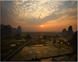 Paint By Numbers rice fields at sunset slope and village at sunset stock pictures Digital Coloring Oil Painting Canvas Wit...