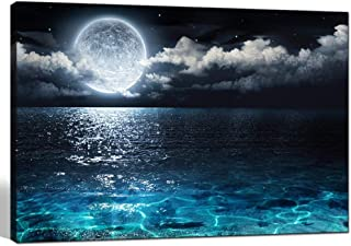 sechars - Modern Canvas Wall Art Large Full Moon in Cloud Landscape Picture Canvas Prints with Frame,Blue Clear Ocean Seascape Giclee Artwork (24