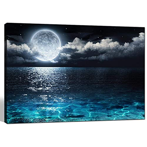 68e771b6a3b Sea Charm - Modern Canvas Wall Art Large Full Moon in Cloud Landscape  Picture Canvas Prints