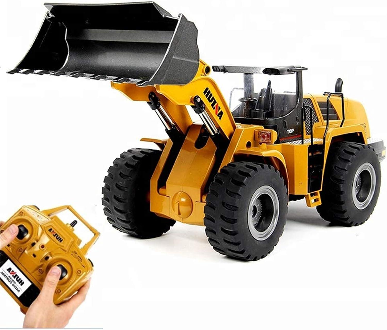 Fernbedienung Spielzeug Bulldozer Gabelstapler, 1 14 10CH RC Metall Emulational Truck Loader Big Bagger Alloy Safe Loader Rad RC Bulldozer für Jungen Geschenk