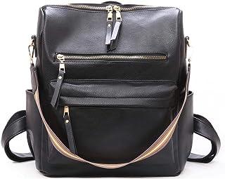 Neuleben Elegant Rucksack Handtasche Umhängetasche Damen PU Leder Frauen Klein Daypack für Arbeit Schule Reise Alltag Schwarz