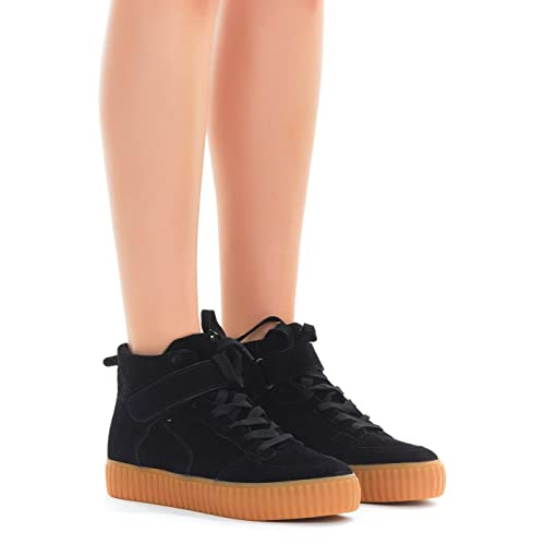 5b0e067b1f6 Women s Black Suede Sneakers High Tops  Amazon.com