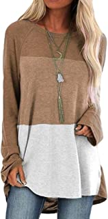 UUGYE Womens Fashion Long Sleeve Blouse Color Block Pullover Loose Fit Shirt Tops