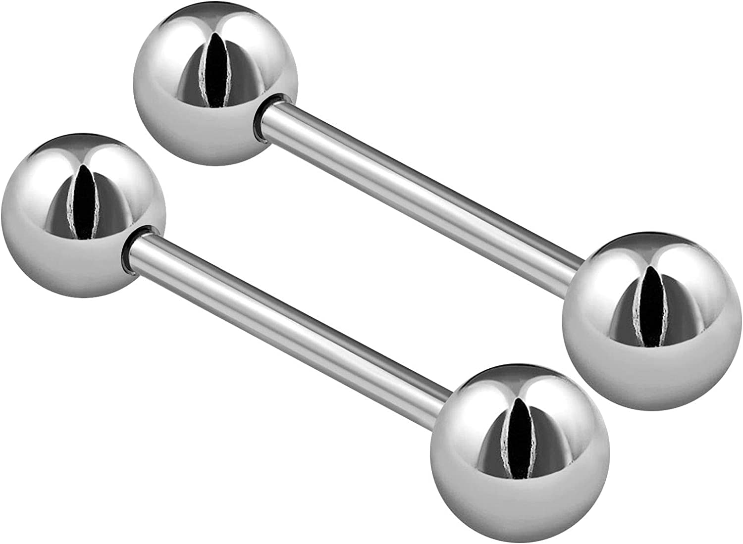 2PCS Stainless Steel Stud Barbell Tongue Rings 14 Gauge 6mm Ball Nipple Bars Piercing Jewelry See More Sizes