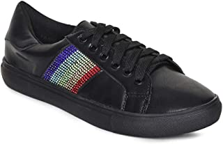 Addons Black Colour Rainbow Crystal Embellished Sneakers