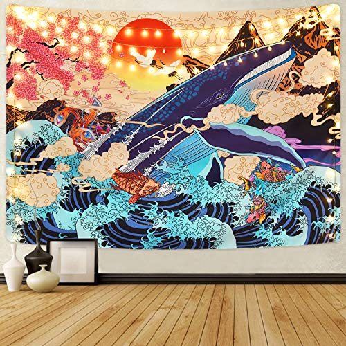 Krelymics Ukiyo-e Tapestry Sea Wave Koi Wall Tapestry Big Whale Sunset Landscape Tapestry Wall Hanging Decoration (M/130x150cm(51.2'x59.1'))