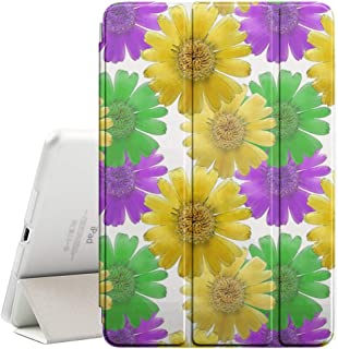 Compatible with Apple iPad Mini 4 - Leather Smart Cover + Hard Back Case with Sleep/Wake Function (Marigold Calendula Officinalis Colorful Texture)