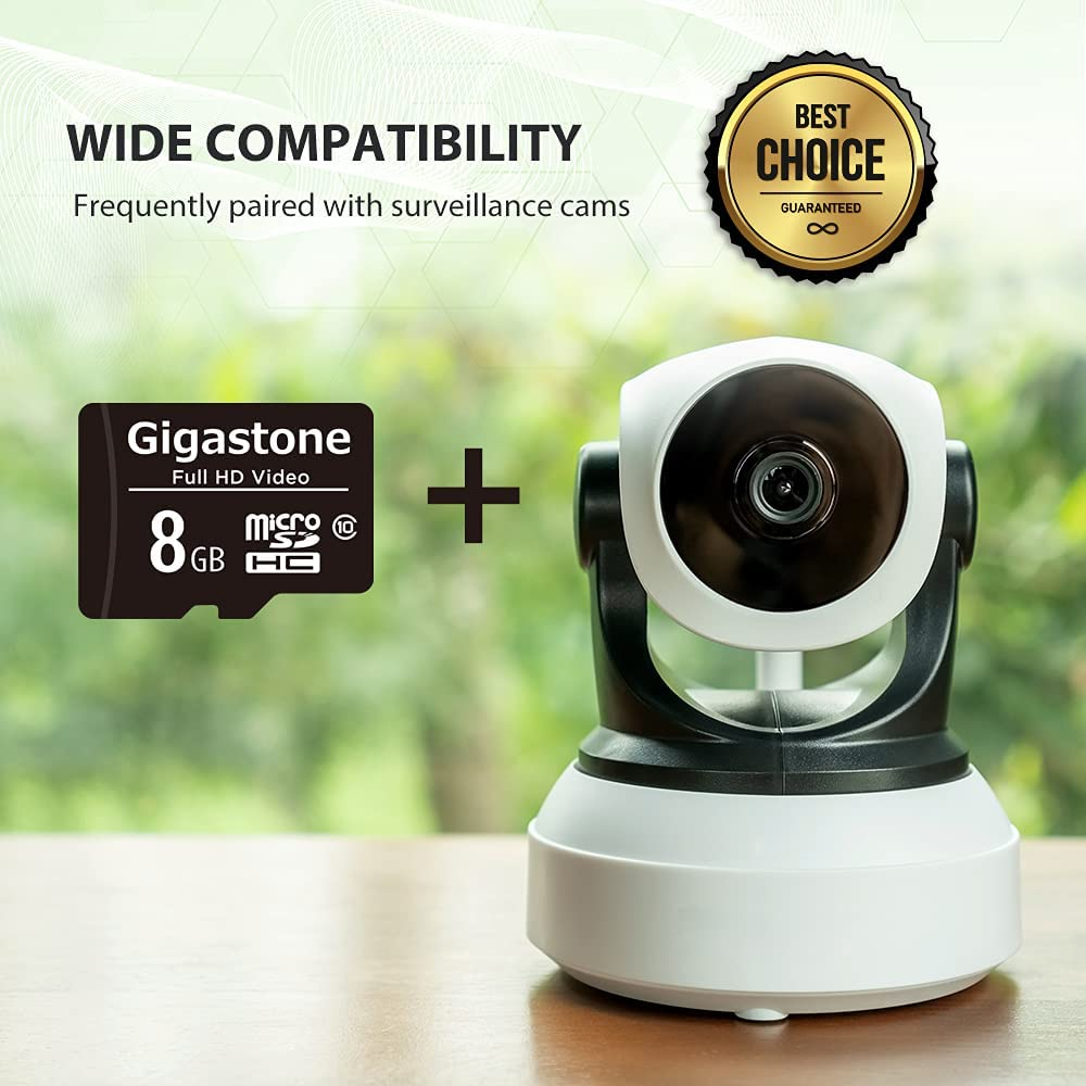 Gigastone 8GB Micro SD Card, FHD Video, Surveillance Security Cam Action Camera Drone Professional, 80MB/s Micro SDHC Class 10